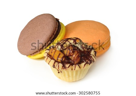 Dessert Delicious homemade tartlet served with macaron - stock photo