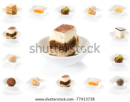 dessert, food, plate, cake, dish, chocolate, cheese, sweet - stock photo