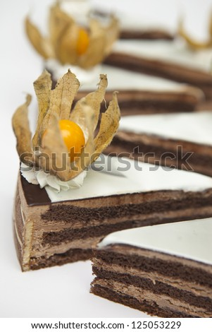 dessert from two different kind of chocolate with ground-cherry - stock photo