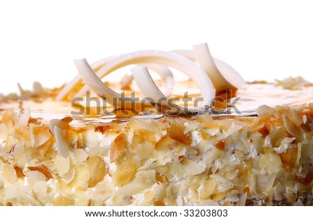 dessert fruitcake with white chocolate