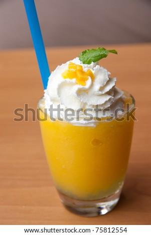 Dessert make from mango in glass - stock photo