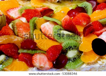 dessert of fresh berries and fruits - stock photo