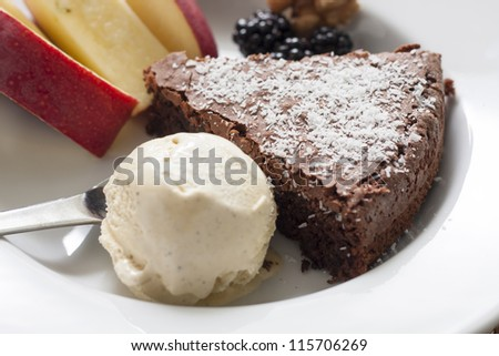 Dessert of ice cream and chocolate cake topped with coconut flakes and berries with apple on the side - stock photo