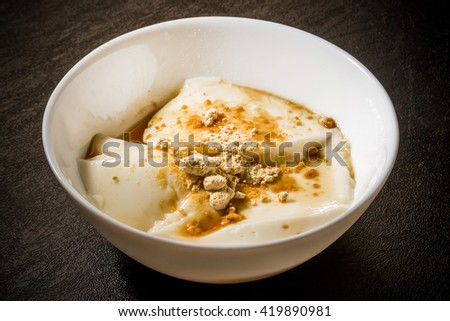 Dessert of soybean flour and the soybean milk agar Chinese food(Douhua)