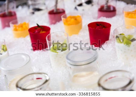 dessert on the ice. - stock photo
