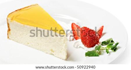 Dessert - Orange Cheesecake with Whip and Fresh Strawberry - stock photo