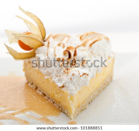 Dessert - Slice of Lemon Pie topped with Whipped Cream