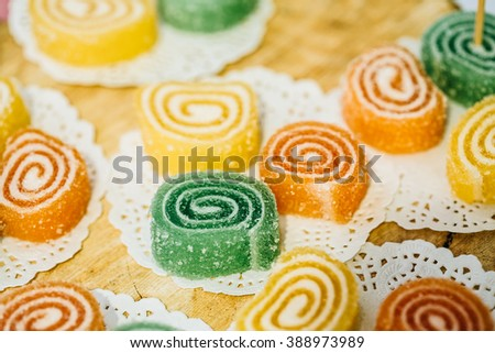 Dessert Sweet Tasty Yummy Colorful Jellies in Candy Bar On Table. Delicious buffet - stock photo