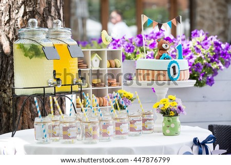 Dessert table for a birthday party - stock photo