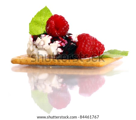 Dessert with raspberry and cottage cheese over white background