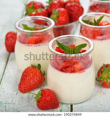 Dessert with strawberries on a white background