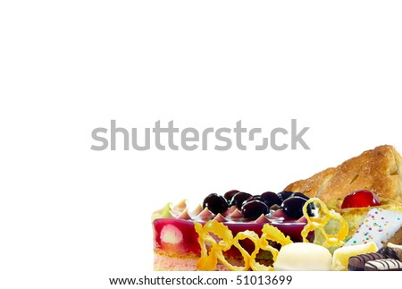 Desserts and sweets isolated over white background
