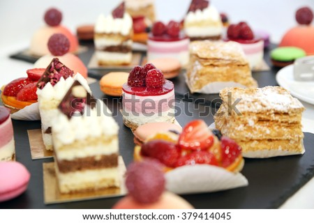 desserts with fruits, mousse, biscuits - stock photo