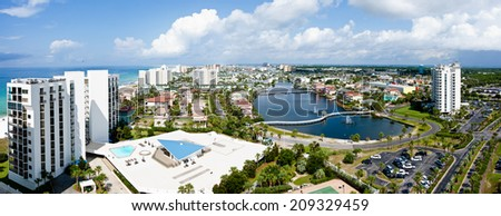 Destin, FL, USA - July 24 2014: Panorama of touristic Destin on the Emerald coast of Florida, known as the redneck riviera. - stock photo