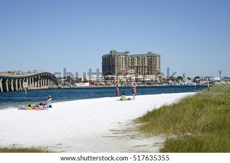 Destin Florida USA - October 2016 - The military beach on Okaloosa Island overlooks Destin a holiday resort on the Panhandle region of Florida