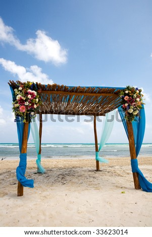 Destination wedding location on beach - stock photo