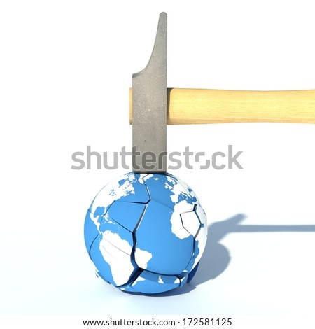 Destroy the Earth concept with a hammer and an Earth globe - stock photo