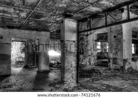 destroyed big room, black and white - stock photo