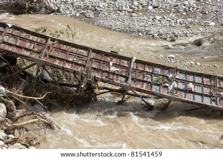 Destroyed Bridge over Stream - After Flood Disaster in Olympos, Turkey, Asia - stock photo