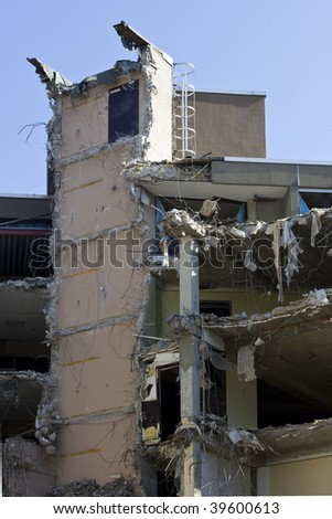 Destroyed building, can be used as demolition, earthquake, bomb, terrorist attack or natural disaster concept