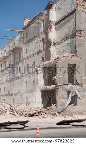 Destroyed building, demolition, earthquake, bomb, catastrophe, disaster. - stock photo