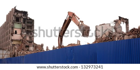 Destroyed building, earthquake, bomb, terrorist attack or natural disaster concept. - stock photo