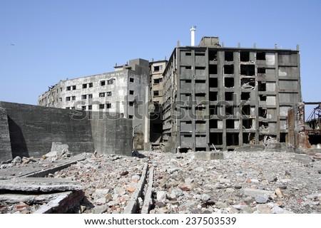 Destroyed buildings on Gunkajima in Japan. - stock photo