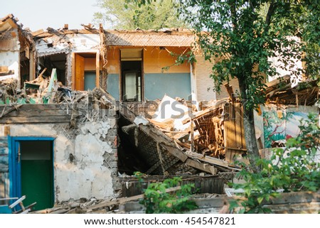 Destroyed by the earthquake building. - stock photo