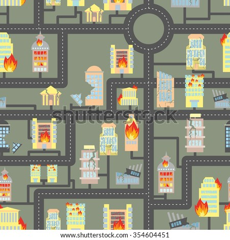 Destroyed city seamless. Fire in Business buildings and vehicles. Industrial background of modern metropolis after hostilities. Destroyed Skyscrapers and public property. - stock photo
