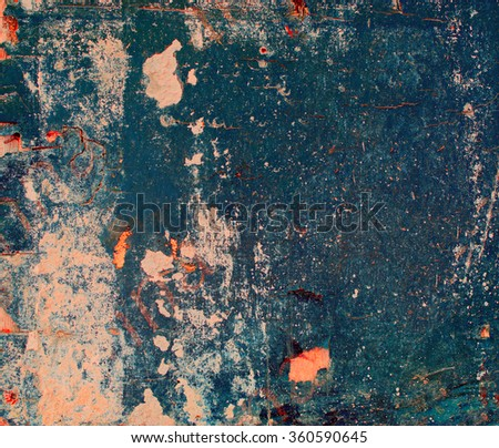 Destroyed colored blue plywood with cracked paint, grunge background - stock photo