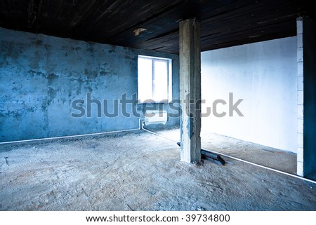 Destroyed dirty empty interior - stock photo