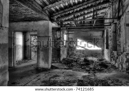 destroyed hall, black and white - stock photo