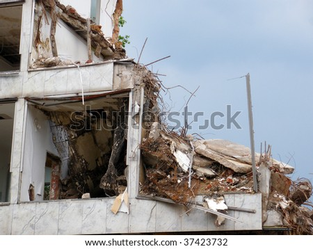 Destroyed house closeup