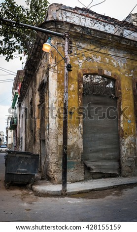 Destroyed house on the corner of Old Havana.