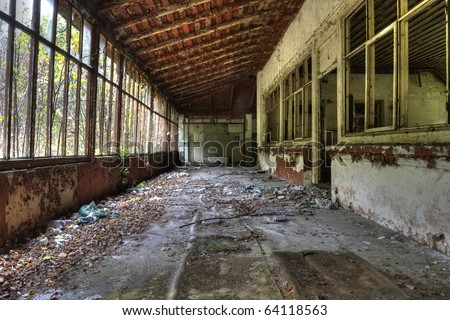 destroyed inside the building - stock photo