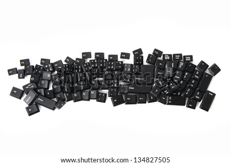 destroyed keyboard - alphabet, numbers,  keyboard keys combined in a single image - stock photo