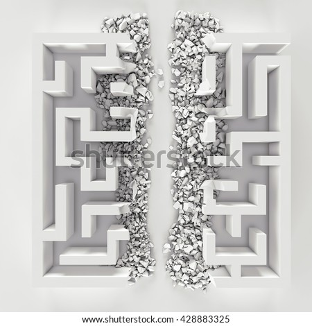 destroyed labyrinth. direct path. 3D illustration - stock photo