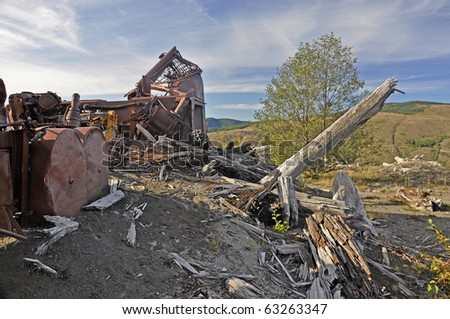 Destroyed logging equipment on Mt. St. Helens 30 years after the eruption - stock photo