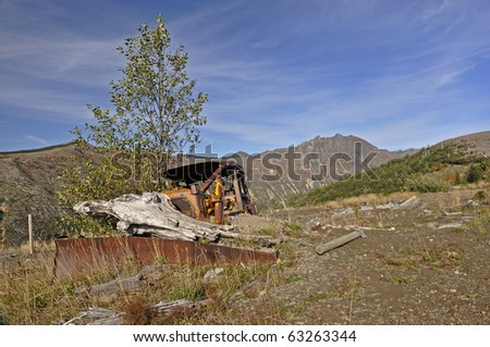 Destroyed logging equipment 30 years after the eruption of Mt. St. Helens - stock photo