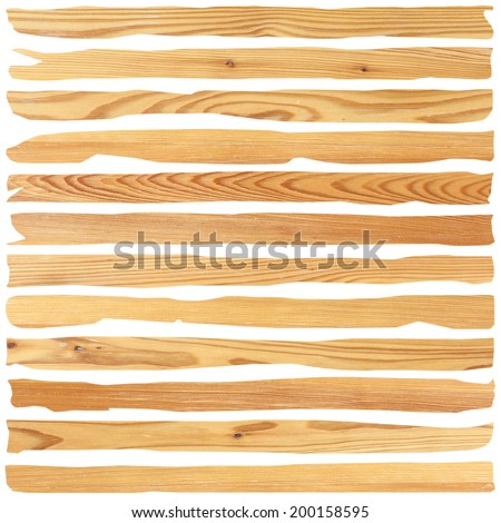 destroyed old wood planks isolated over white background - stock photo