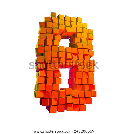 Destroyed Pixel Number Eight - stock photo