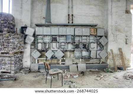 destroyed power supply - stock photo