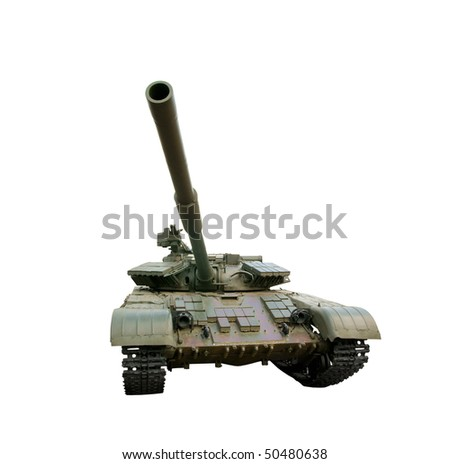 Destroyed russian tank isolated - stock photo
