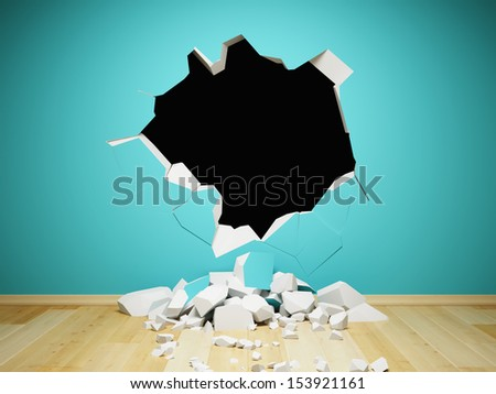 Destroyed wall in interior room - stock photo