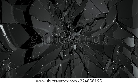 Destructed and Shattered glass on black. Large resolution - stock photo
