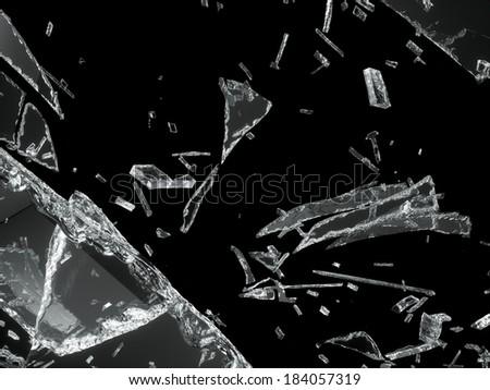 Destructed or Shattered glass isolated over black background - stock photo