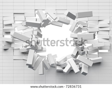 Destruction of a brick wall - stock photo