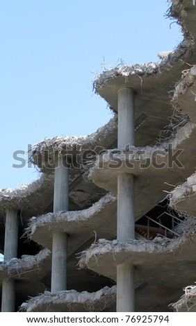 destruction of an old building - stock photo