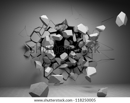 Destruction of concrete wall - stock photo