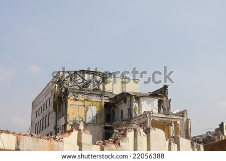 Destruction of office building in St.-Petersburg. Clearing of a platform for construction of new office of Gazprom. - stock photo